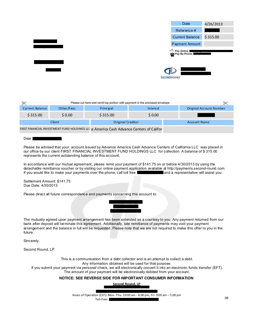 Saved $943.69 with Advance America Cash Advance for Client LT
