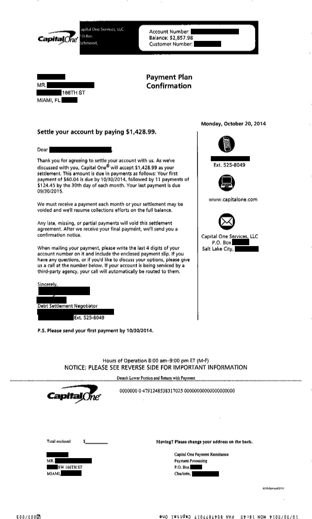 Saved $1071.01 with Capital One for Client DA