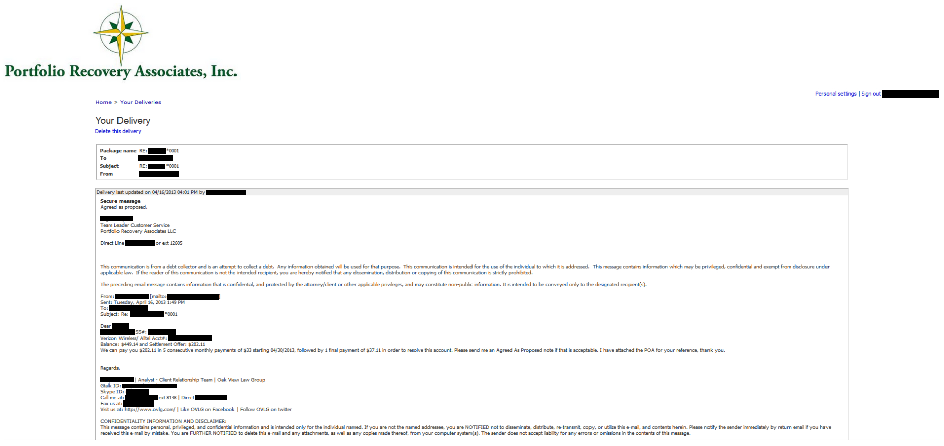 Saved $185.27 with Verizon Wireless/ Alltel for Client PB2