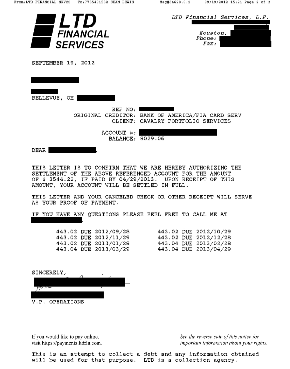 Saved $3363.63 with Bank Of America(cavalry) for Client TF