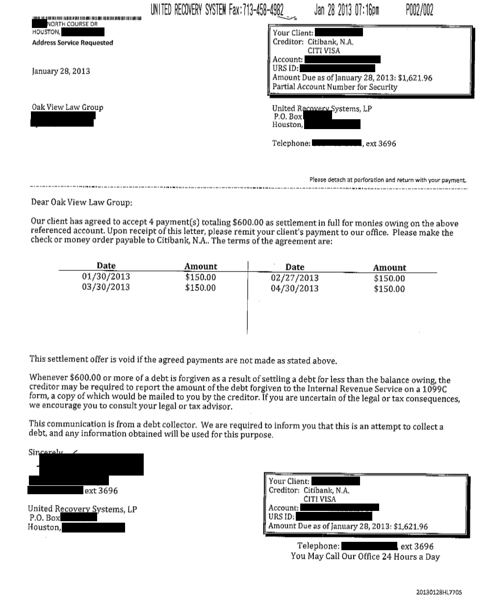 Saved $766.47 with Citibank for Client RP