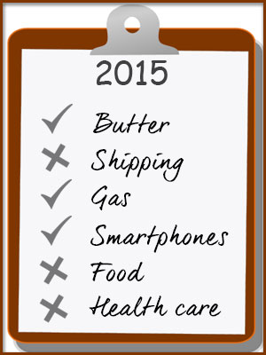 Want to spend less in 2015? Get a list of items that will be cheaper next year now.