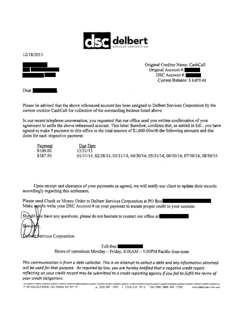 List of successful debt negotiation with cash call for Debt negotiation letter template